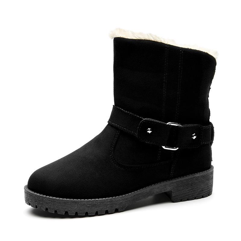 4143大码女鞋2018冬季新款皮带扣雪地靴欧美短筒时尚潮流保暖棉鞋