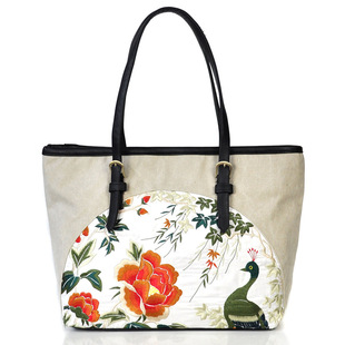 Embroidery bag 2017 new female embroidered shoulder bag canvas art portable female bag large-capacity delivery