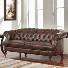 美式皮沙发三人拉扣北欧新古典弧形双人沙发欧式酒店样板房皮沙发
