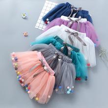 春秋季兒童女童夏裝韓版網紗裙半身裙純色清新蓬蓬裙寶寶女孩短裙