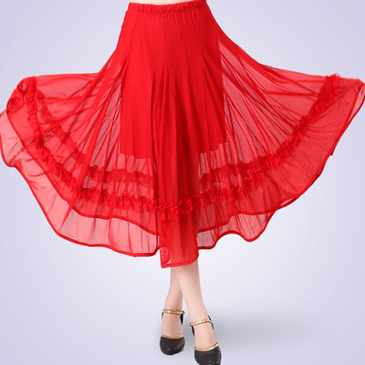 Ballroom dance skirts for women Adult Latin Dance skirts half length square dance skirt big swing skirts modern dance performance skirt