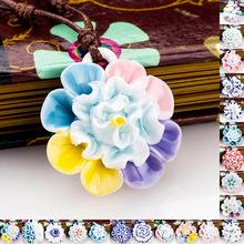 创意精致陶瓷礼品送女友闺蜜月季项链送女性同学生日礼物牡丹吊坠