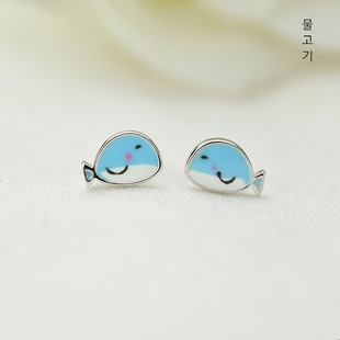 Mini blue fish earrings S925 sterling silver Korean style simple and cute earrings dripping oil silver jewelry wholesale