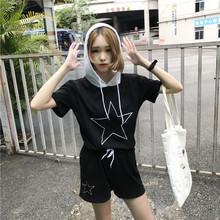 Bộ đồ nữ thời trang, áo hoodie cộc tay+quần short, kiểu dáng trẻ trung