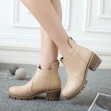 短靴女2018新款套脚高跟春秋单靴厚底漆皮马丁靴厂家直销