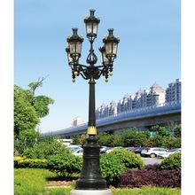 led景观庭院灯铝制欧式仿古六角5头e27接线亚克力灯罩3米小区路灯