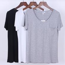 2019夏季欧美女装短袖t恤女士上衣莫代尔纯色宽松圆领打底衫批发