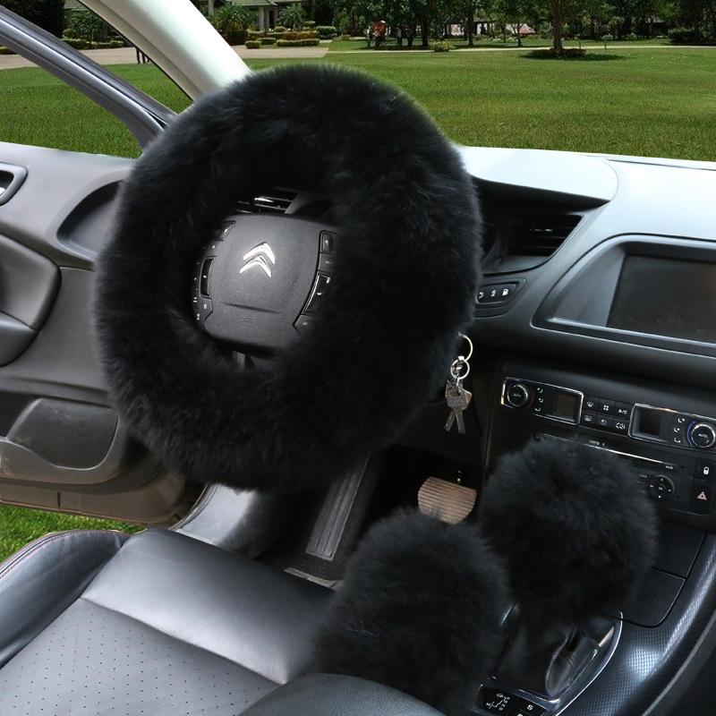 汽车用品批发新款羊毛汽车方向盘套长皮毛一体真皮车把套皮毛一体