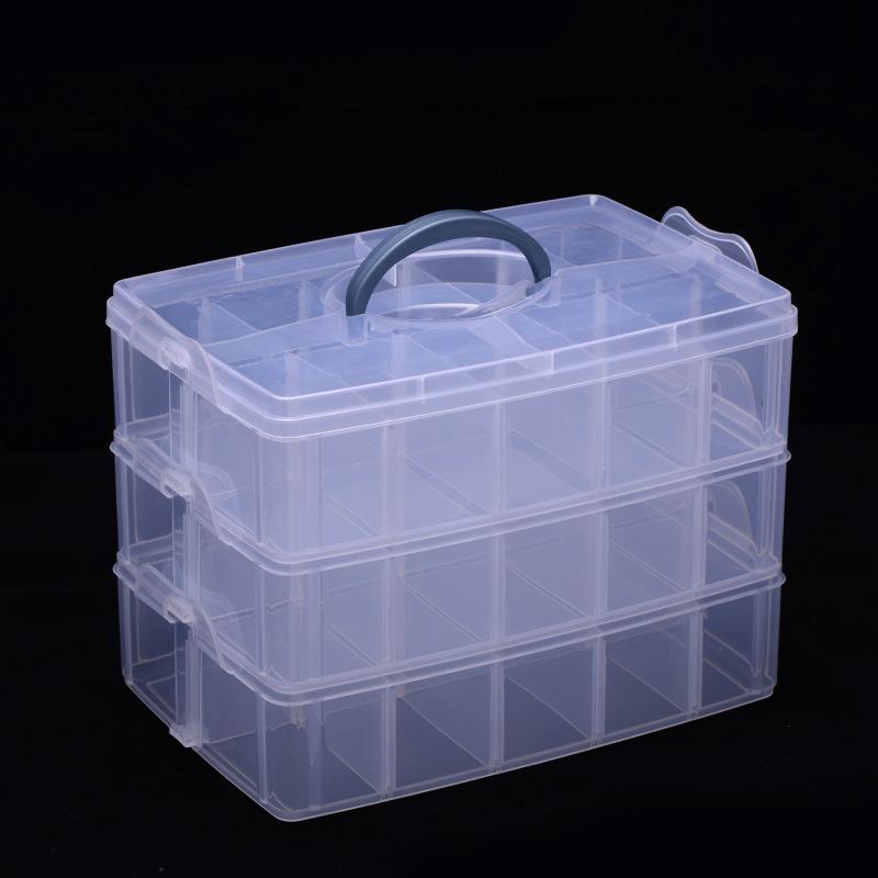 大号三层手提塑料收纳箱 可拆格收纳儿童玩具整理盒首饰品工具盒