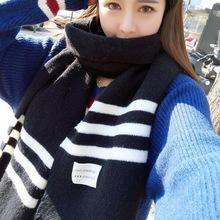 秋冬季條紋女士針織圍巾韓版情侶貼標粗毛線加厚長款保暖學生圍脖