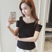 2019女裝春季新款韓版純色修身顯瘦露肩T恤女短袖上衣潮9.9包郵