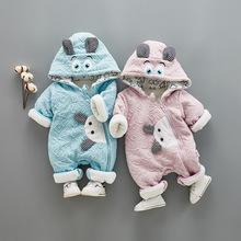 新生儿衣服秋冬季婴儿连体衣爬服男女宝宝保暖哈衣加厚棉衣外出装