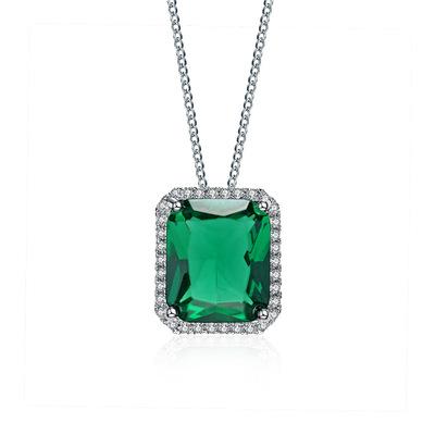 欧美时尚简约绿色方形AAA锆石项链 高档女士短款锁骨链  400514