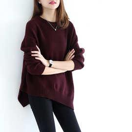17新款时尚慵懒女高端纯羊绒衫圆领加厚毛衣宽松打底不对称针织衫