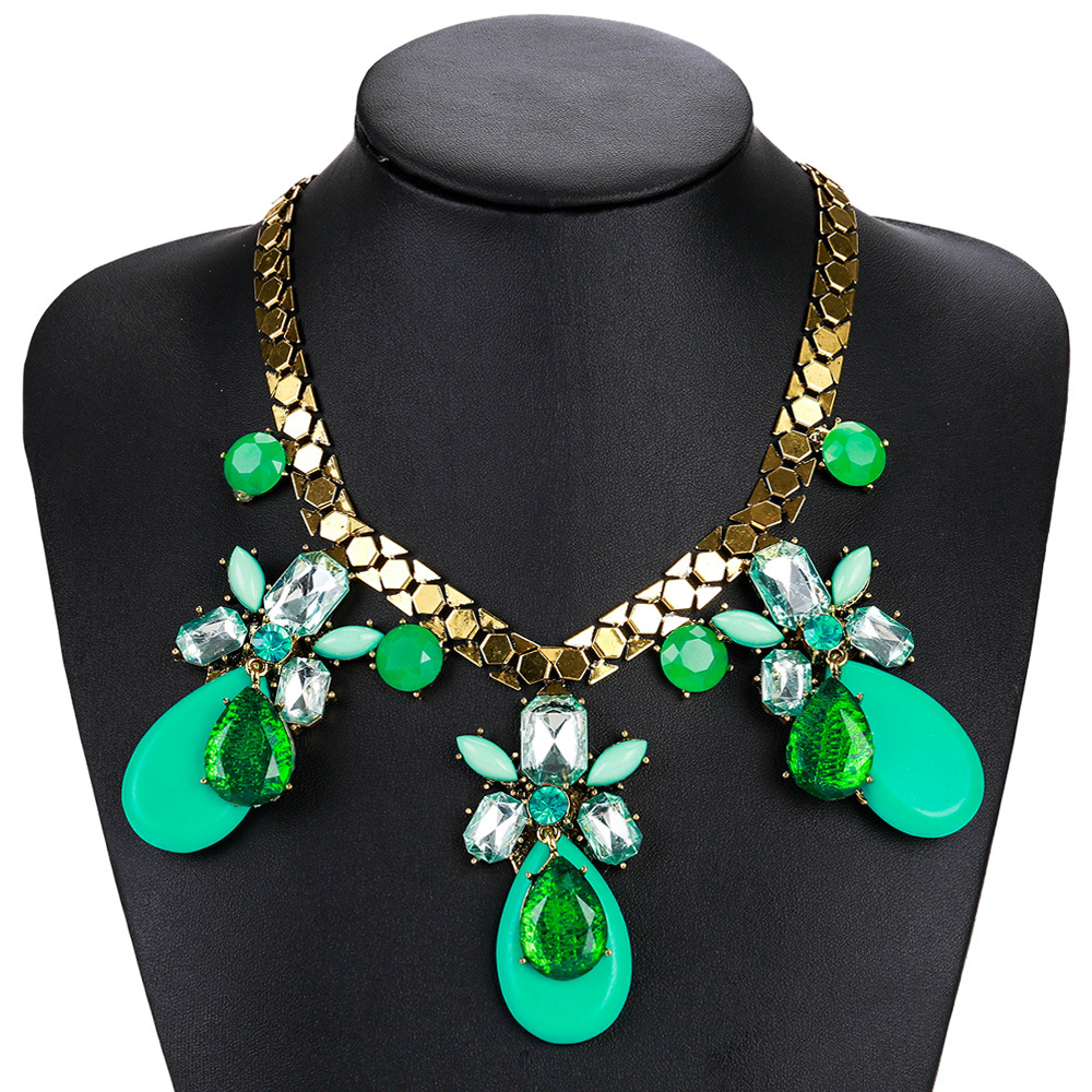 Exotic alloy plating necklace (green)NHJE0457-green