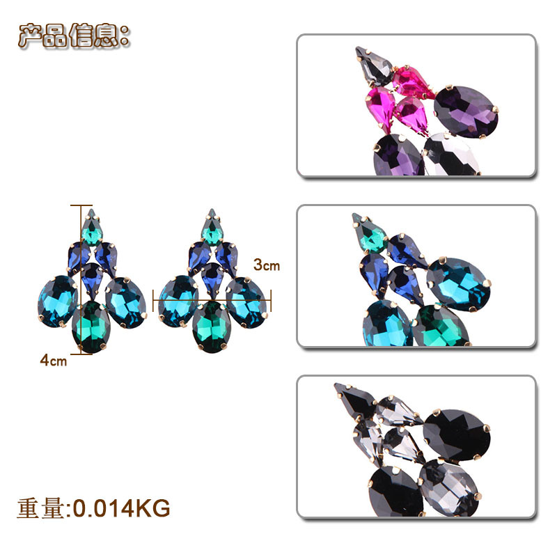 Occident and the United States alloy Diamond earring (Black and white)NHJQ9219-Black and white