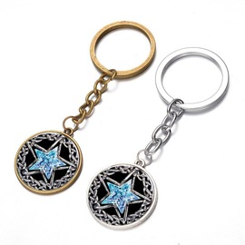 European and American popular time gemstone glass pendant key chain hot selling pentagram key chain pendant