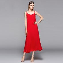 一件代發2018新款連衣裙時尚蠶絲棉純色多色百搭吊帶打底連衣裙