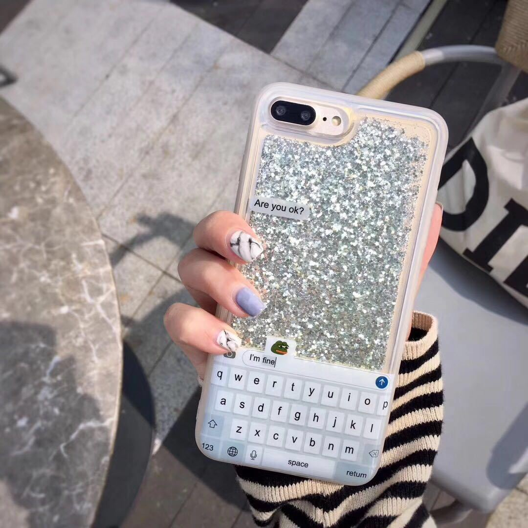 Apple X mobile phone shell creative keyboard quicksand glitter iPhone8plus silicone soft shell 7/6S shatter-resistant sleeve personality