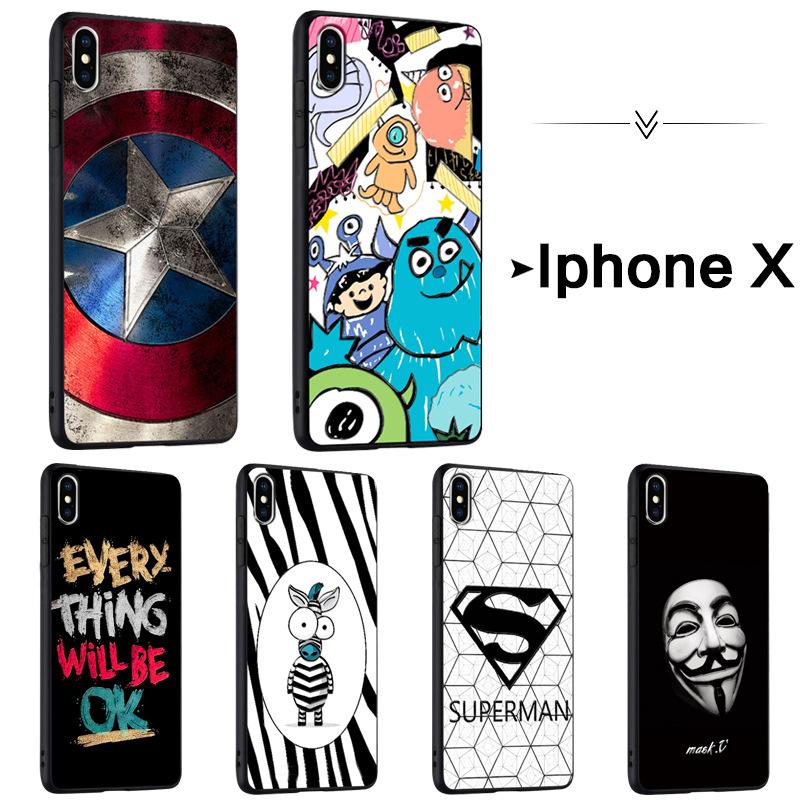 手机壳适用于苹果X 防摔iphone X软壳 iphone X浮雕彩绘3D立体壳