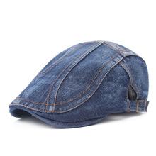 男女士水洗牛仔布贝雷帽斜条纹休闲鸭舌帽中老年出游前进帽子批发
