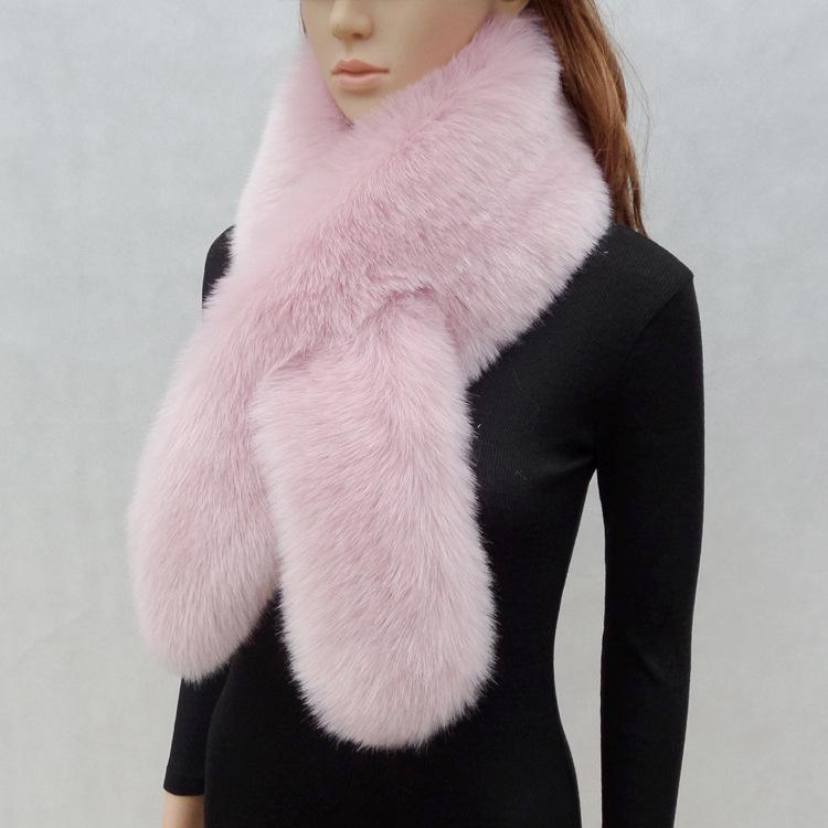 韓版毛毛圍巾仿皮草兔毛狐貍毛毛領子披肩女長款加厚保暖百搭圍脖