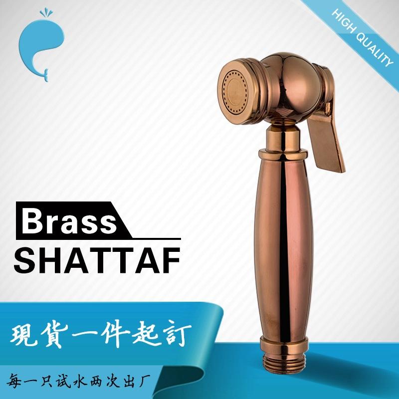 铜shattaf手持马桶喷枪花洒头玫瑰金妇洗器喷头套装增压105021RG