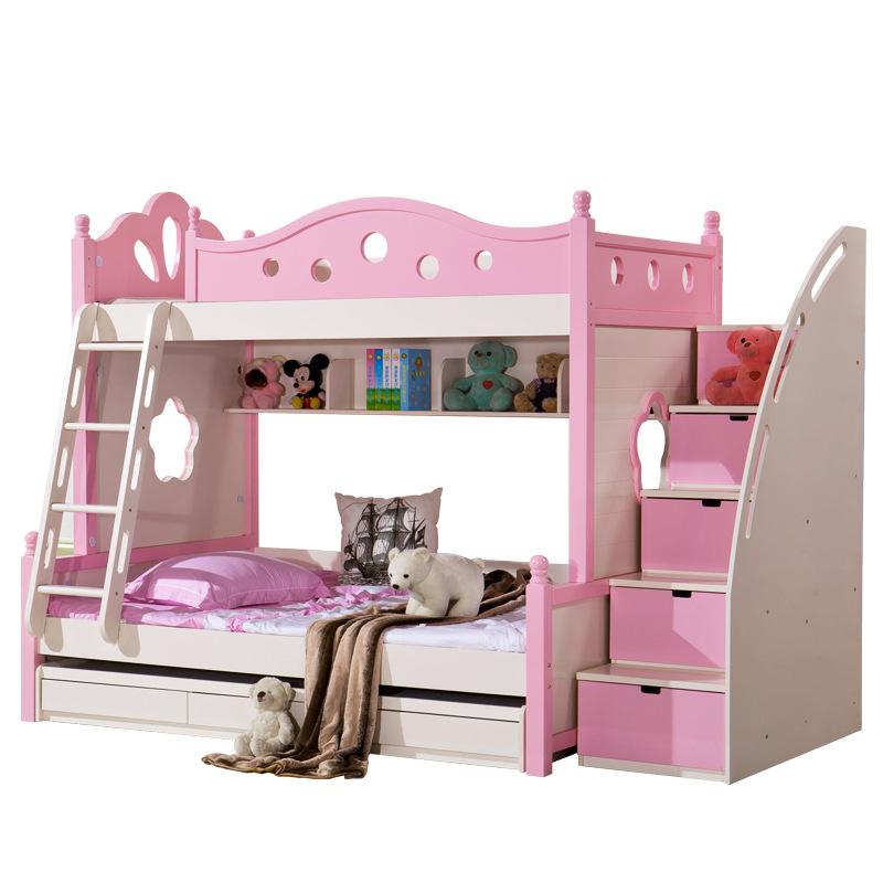 儿童高低床双层床子母床实木带护栏女孩地中海粉红色儿童床上下床
