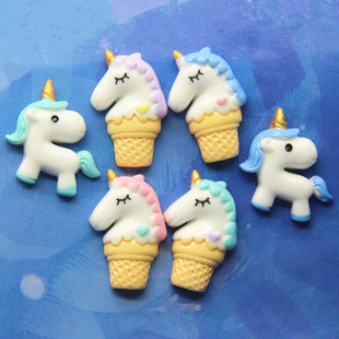 Resin unicorn accessories Children's headgear material package diy mobile phone accessories cream mobile phone shell material