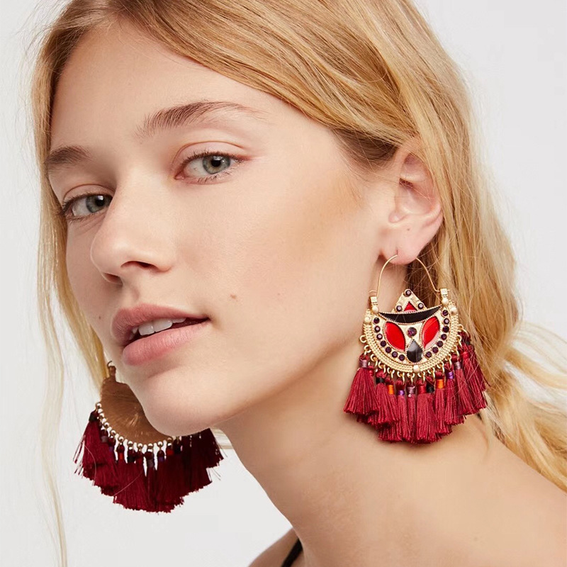 Fashion Alloy plating earring Geometric (red)  NHJE0842-red