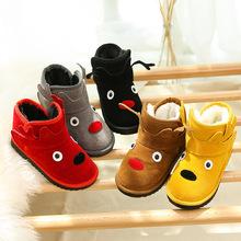 兒童雪地靴2019冬季新款男童女童保暖靴子卡通小鹿中筒加絨寶寶鞋