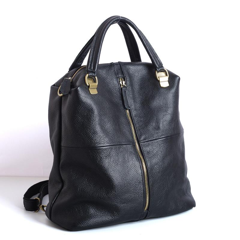 跨境一件代发新款头层牛皮真皮时尚女包黑色多用女士双肩包背包