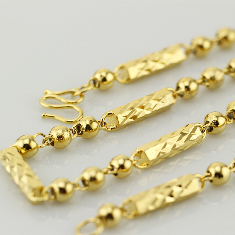 24K黄铜材质真空电镀真金项链越南沙金满天星项链男士竹节项链