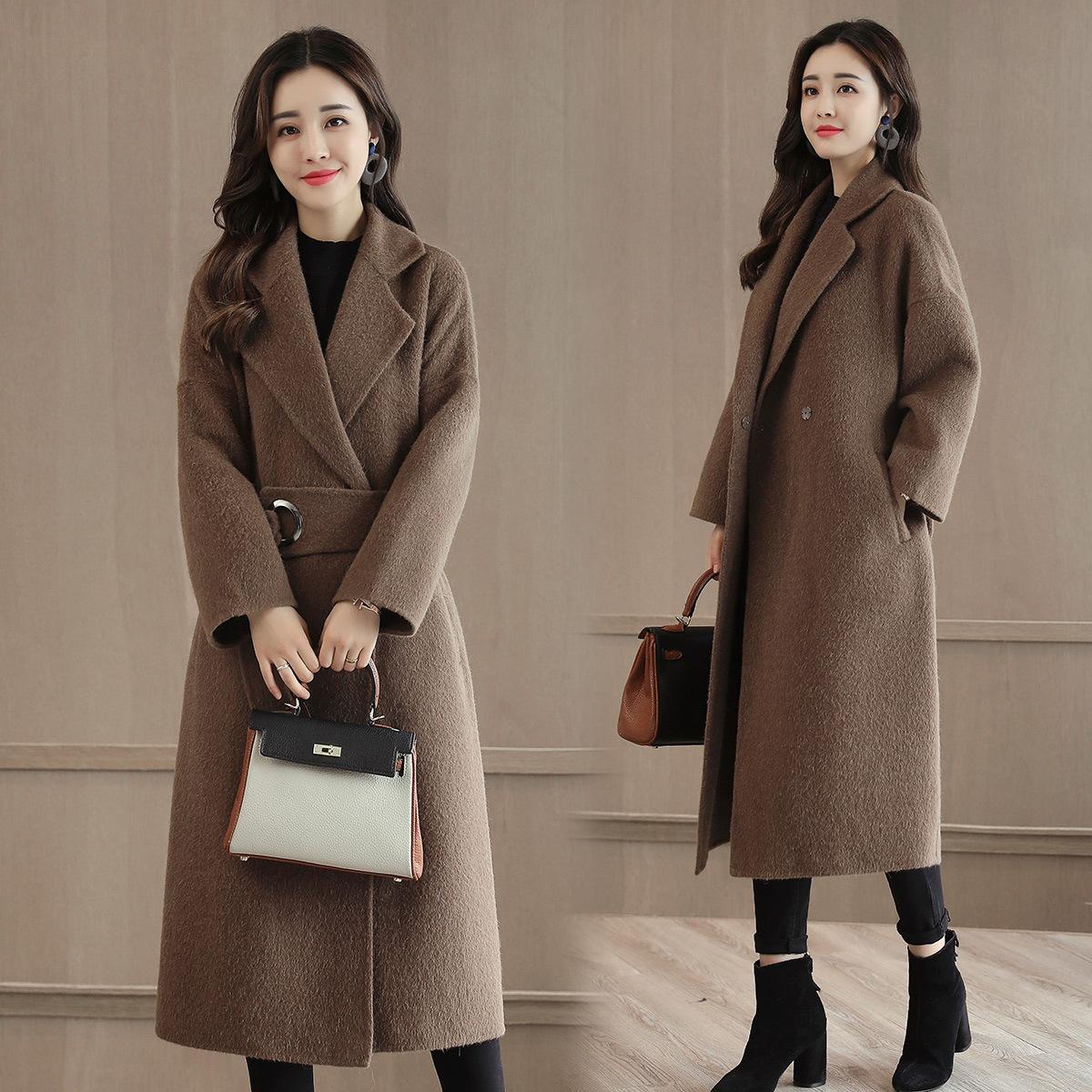 2018冬季毛呢大衣女装宽松显瘦加厚韩版阿尔巴卡羊毛呢外套中长款