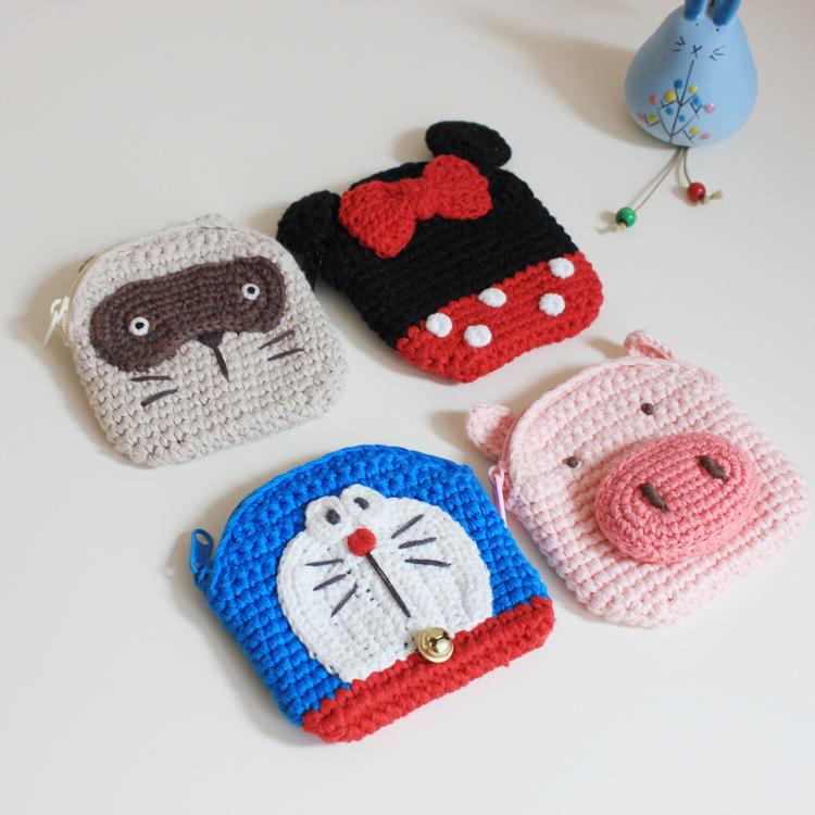 手工针织零钱包 mini卡通动漫毛线硬币袋叮学生款可爱小包包