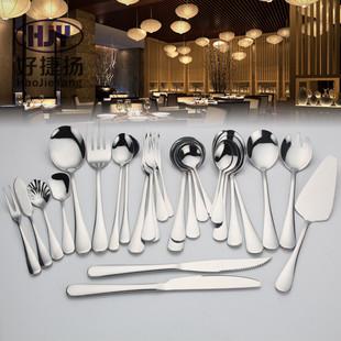 1010不锈钢牛排水果西式刀叉勺三件套  定制logo 现代西餐具套装
