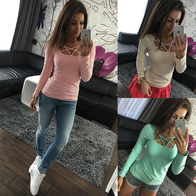 Cross-border For 2017 Aliexpress Wish Explosion New Long-sleeved T-shirt Female Solid Color Cross Collar Solid Color Autumn Female