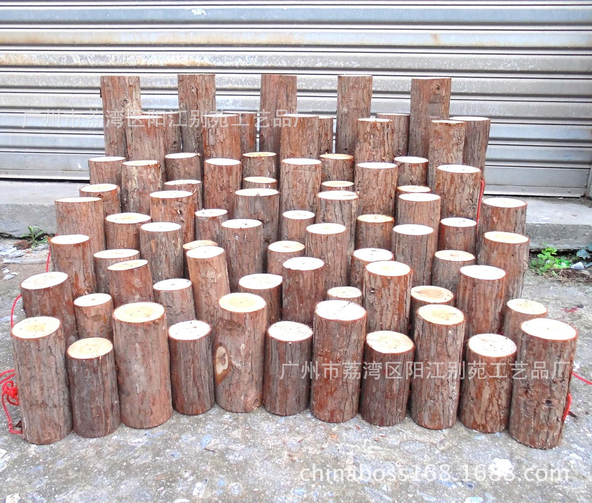 装饰串联木桩原木带皮木桩栏栅篱笆间隔园艺花花装饰木条围栏