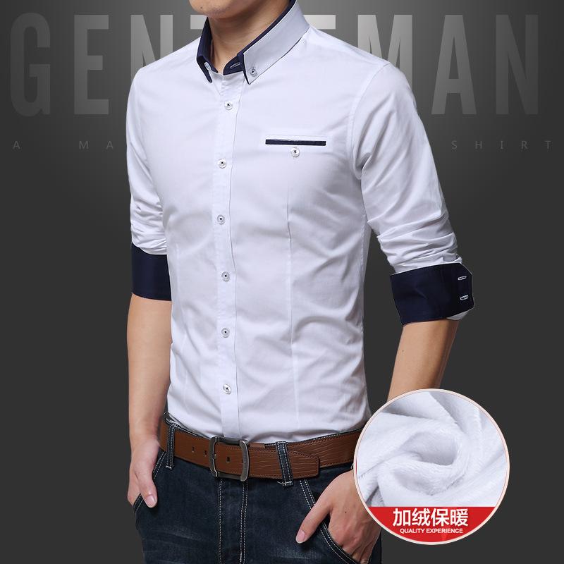 加绒衬衫男长袖 韩版秋冬加厚保暖衬衣纯色男士内外穿寸衫外贸