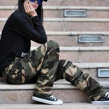 天天特價戶外韓版男女潮多口袋工裝褲女長褲寬松大碼女迷彩褲子