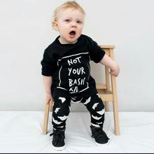 2017INS爆款欧美风 秋款小童印花T恤+黑色裤子 儿童套装一件代发