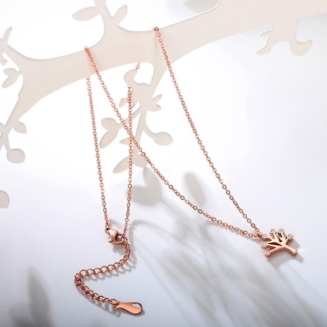 Simple Titanium steel plating necklace (Rose gold)NHIM0636-Rose gold