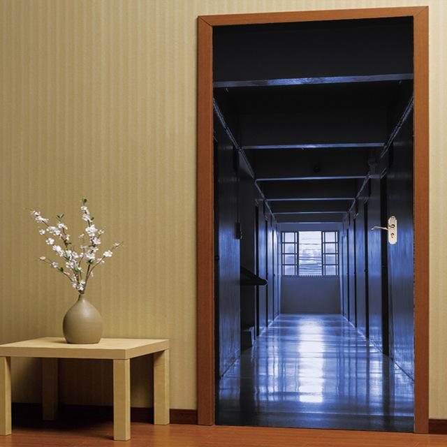 防3D立体门贴寂静的走廊 客厅卧室门个性装饰墙贴自粘贴纸MT030