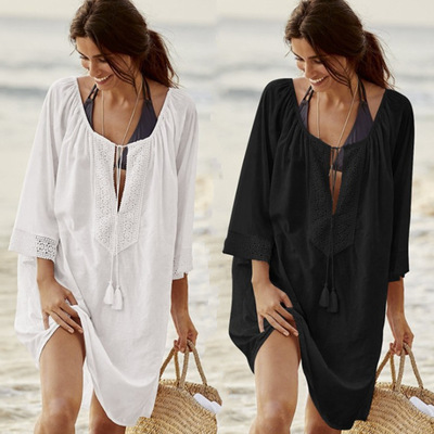 Women cotton plus size loose bikini swimsuit outer coverall beach sunscreen coverall women vacation dress bathing  swim wear cover up