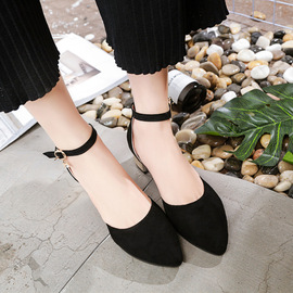 New square with shallow mouth women's shoes sweet word buckle suede pointed low heel summer hollow sandals women