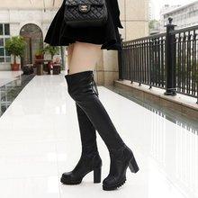 2017新款韩版女士长筒过膝长靴弹力皮靴粗跟女靴子高跟瘦腿靴批发