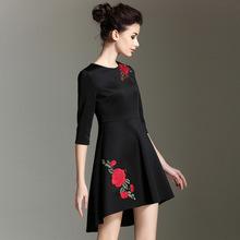 春夏装新款前短后长不规则下摆刺绣太空棉连衣裙欧美重工高端女装