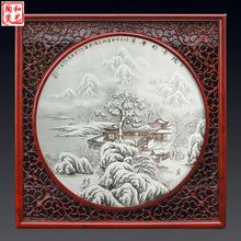 厂家景德镇陶瓷瓷板手绘壁挂瓷器画 商务礼品用瓷 青花瓷板画定做