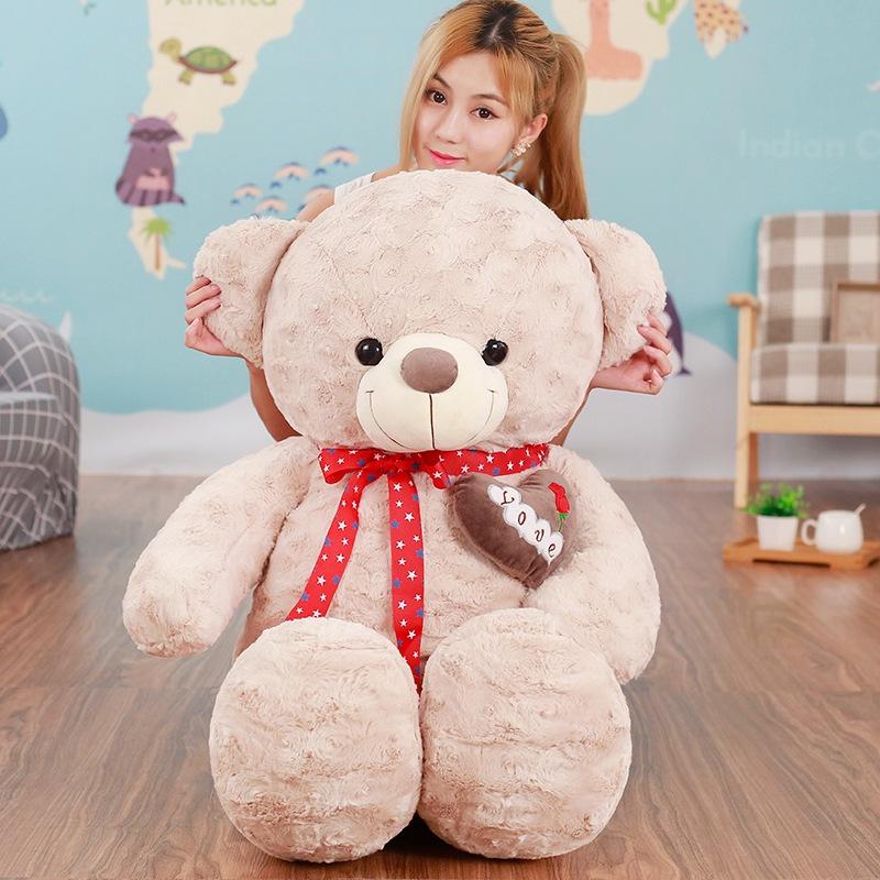 玫瑰卷毛绒情侣围巾丝带抱心泰迪熊公仔可爱大狗熊玩偶送女友礼物