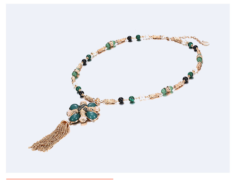 Occident and the United States alloy Inlaid pearl necklace (Golden dark green)NHNTF1277-Golden dark green